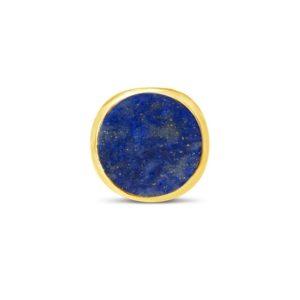 gouden ring met lapis lazuli in een stevige band van geborsteld 18k verguld zilver